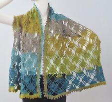 New Handmade Crochet Multi-Color Soft Acrylic Lattice Lace Shawl Wrap Scarf