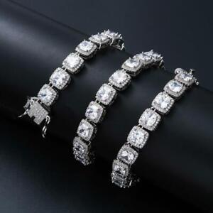 Men Baguette Tennis Iced Flooded Out White Gold -plated Hip Hop Bracelet A9003-W