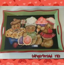 HP Gingerbread cookie and cupcake wooden serving tray, holidays, peppermint, red
