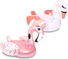 GIANT INFLATABLE POOL FLOAT PACK SWAN AND FLAMINGO FUN SUMMER RAFT SWIMMING RING