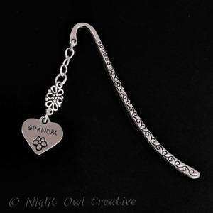Grandpa Bookmark Silvertone Heart, Handmade Gift, Grandfather, Grandad, Bookworm