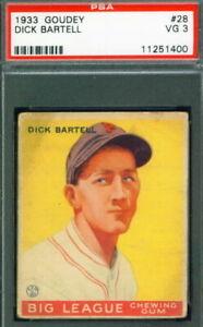 1933 Goudey Baseball #28 DICK BARTELL Phillies  PSA 3 (Low #)