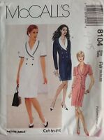 McCall's Cut Sewing Pattern For Ladies Knee Length Dress 8104 Size 18-22