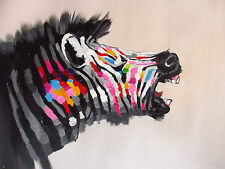 zebra rainbow colours painting art  A1 print  pop painting