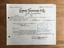 1940 EDWARD TRENCHARD & CO STOCK & STATION AGENTS MELBOURNE INVOICE RECEIPT F130