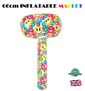 INFLATABLE SMILE MALLET Blow Up Smile Emoji Toy Stag Hen Fancy Dress Party 66cm