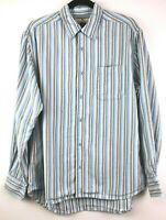 Tommy Bahama Men's M Blue Striped Lyocell Textured Long Sleeve Button Down Shirt