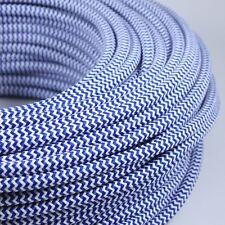 Cable Electrique Chevron Bleu Blanc Textile Tissu Rond Normes CE 2*0,75mm Deco