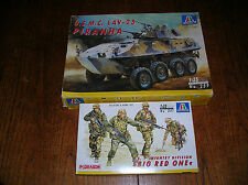 Italeri 1/35 Scale USMC LAV-25 Piranha Tank Unmade Model Plus Infantry Figures