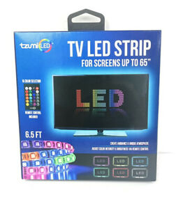Tzumi USB LED Light Trimmable Adhesive Strip 6.5' w Remote Control 16 Colors NEW