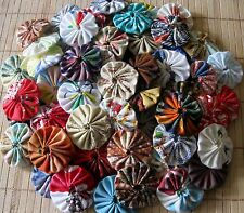 62 handmade yoyo yo yo's fabric suffolk puff embellishments trim crafts rosette