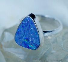 Silberring 59 Edelopal Boulder Opal Freiform Dreieck Ring Silber Groß Bunt Edel