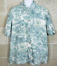 Trader Bay Mens Hawaiian Camp Shirt Size Large Floral Pineapple Tropical Print