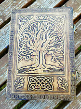 "Large Tree of Life leather journal, book of shadows, Wiccan Pagan Dream 10""x7"""