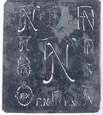 Große Monogramm Schablone  FN  Jugendstil Weißblech 16,5 x 18 cm Weissstickerei