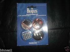 """THE BEATLES OFFICIAL BADGE SET 4 DIFFERENT """"PINS""""   Apple Corps BRILLIANT"""
