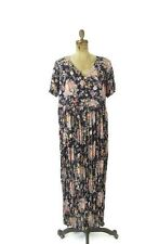Vintage 90's Sheer Floral Lace Grunge Maxi Dress Navy Blue Gauze Size Large