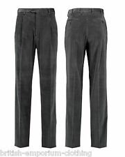 BRIONI Dark Grey Micro Check Velvet Cotton CANNES Trousers UK46 UN-HEMMED BNWT