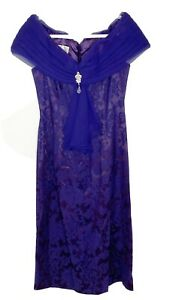 VTG Jessica McClintock Bridal PURPLE Off Shoulder Dress Paisley Floral 80s 12