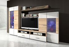 Wohnwand Anbauwand Wohnzimmerset Lowboard Mod.SO192 Sonoma Eiche Weiß Hochglanz