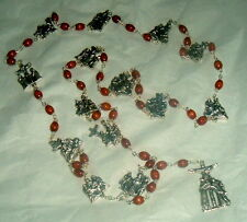 BROWN WOOD BEADS w/ Silver Tone STATIONS OF THE CROSS Rosary NIB