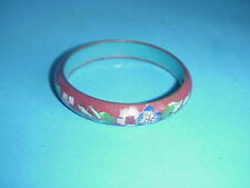 Antique Cloisonne Burnt Orange Chinese Bangle Bracelet Flowers