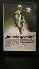 """BMW Framed Advertisement """"Deutsche Sporthilfe."""" Bike Freude am Fahren EUC!"""