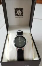 Anne Klein Womens Watch Silver tone Black Leather Strap Diamond