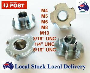 """M4 M5 M6 M8 M10 3/16"""" 1/4"""" 5/16"""" T Nut Nuts Tee TNut TNuts Blind 4 Prong Wood"""