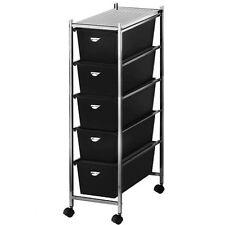 carrello estetista in metallo cassettiera bagno ufficio con 4 ruote e 5 cassetti