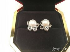 9-10mm Cultured Freshwater Pearl Studs Five Petals Flowers Crystal Earring