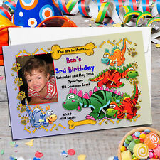 10 Personalised Boy Girl Cute Dinosaur Birthday Party PHOTO Invitations N18
