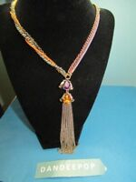 Betsey Johnson Jeweled tassel Necklace With Fuchsia Cord & gold Chains Jewelry