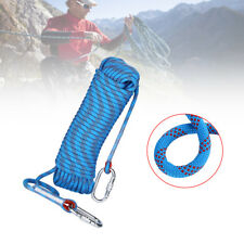 20M 65Ft 10mm Auxiliary Outdoor Mountaineering Climbing Rope + O Rings Carabiner
