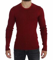 NWT $860 DOLCE & GABBANA Red Silk Crewneck Ribbed Sweater Pullover Top IT52/ L