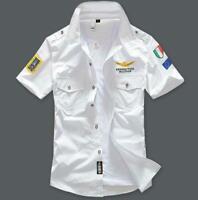 Men's Fashion Casual MA1 Flight Pilot Short Sleeve Military Shirts Tops Tee VICT