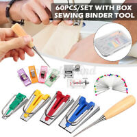 60PCS Fabric Bias Binding Tape Maker Kit Binder Foot For Sewing & Quilting Awl