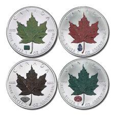 Canada Colorized Maple Leaf Set  $5 2010  4 Coin Set Gemstone Privy Mark