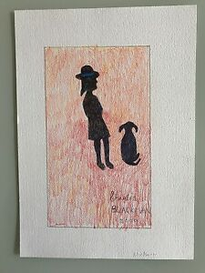"""Charles Blackman """"Schoolgirl and a dog""""pastel and mixed media on paper 2009"""