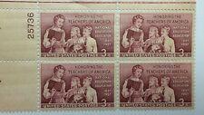 US SCOTT 1093 PLATE BLOCK OF 4-1957 TEACHERS OF AMERICA-M/H/OG-PLT.NO.25736