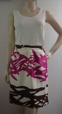 BARNEYS NEW YORK 100% SILK hot pink brown cream skirt Italy US 8 AU Size 12