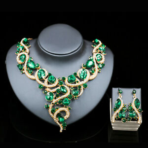 Vintage Crystal Rhinestone Necklace Earrings Jewelry Sets Accessory Statement
