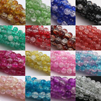 Multi-Color Beads Two Tone Round Glass Crackle Spacer Beads Size 4/6/8/10/12mm