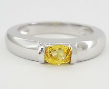 CHAUMET 18K Gold 0.65 ct Oval Cut Yellow Sapphire Solitaire Engagement Ring