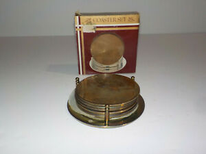 Gold Tone Motif Embossed Coaster Set w/Caddy Vintage Barware Monogram