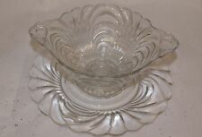 Vintage Bowl and Plate Swirl Glass Clear Handled Large 2 piece set