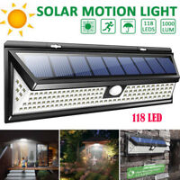 118 LED Solar Lampe mit Bewegungsmelder Solarleuchte Fluter Sensor Strahler NEW