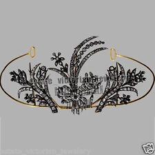 Silver Vintage Royal Crown Tiara Jewelry 7.82cts Genuine Pave Rose Cut Diamond
