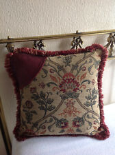 Heavy vintage needlepoint/tapestry/leather fringed cushion cover 16 x 16