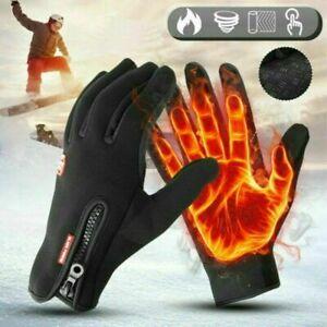 2PCS Winter Handschuhe Fahrradhandschuhe Warm Winddicht Touchscreen Damen Herren